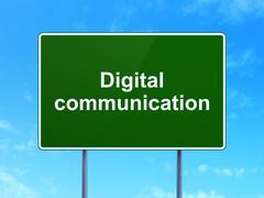 Stock Illustration of Data concept: Digital Communication on road sign background