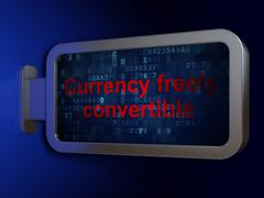 Banking concept: Currency freely Convertible on billboard background - stock illustration