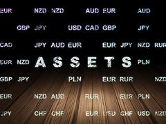 Money concept: Assets in grunge dark room Stock Illustration