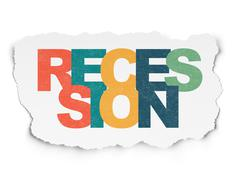 Stock Illustration of Business concept: Recession on Torn Paper background