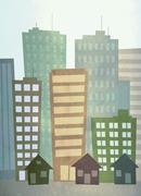 Illustration of city buildings Stock Illustration