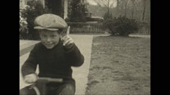 Vintage 16mm film, 1925, New Jersey, children trike pet dog Stock Footage