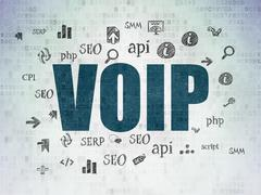 Web design concept: VOIP on Digital Paper background - stock illustration