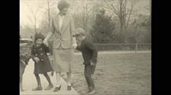 Vintage 16mm film, 1925, New Jersey, mom children dancing Stock Footage