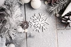 Stock Photo of Christmas Snowy Background in Pastel Colors with a Snowflake