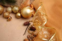 Stock Photo of Christmas Background in Gold Tones