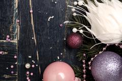 Stock Photo of Christmas Composition in Pink