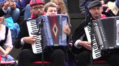 Tarantella folk music. Musicians playing accordion. - stock footage