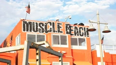 Muscle beach gym Stock Footage
