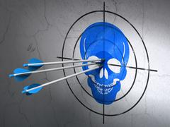 Healthcare concept: arrows in Scull target on wall background - stock illustration