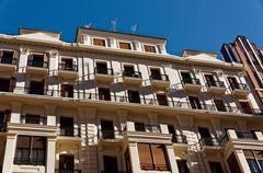 Architectural details of facades stone houses. Valencia. Spain. - stock photo
