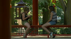Girls sitting in a pagoda pavilion at Chinese garden in Lazienki Park, Warsaw Stock Footage