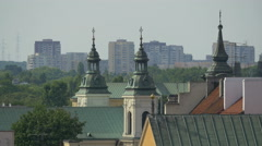 Church of the Holy Spirit towers and St. Hyacinth's Church's tower, Warsaw - stock footage