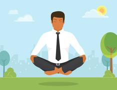 Man is doing yoga and sitting in the lotus position Stock Illustration