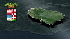 Cuneo's province with Coat of arms animation map Stock Footage