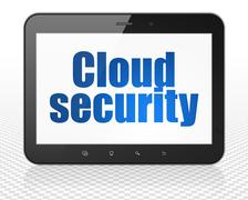 Cloud networking concept: Tablet Pc Computer with Cloud Security on display Stock Illustration