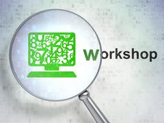 Learning concept: Computer Pc and Workshop with optical glass - stock illustration