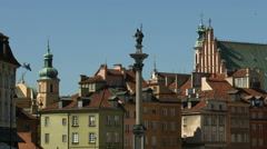 Sigismund's Column and the churches nearby, Warsaw Stock Footage