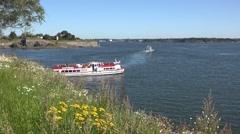 A Royal Line sightseeing boat (in 4k) on Suomenlinna, Helsinki, Finland. Stock Footage