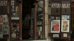 Antikvariat on Nerudova Street in Prague Stock Footage