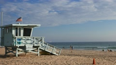 Lifeguard tower venice beach Stock Footage