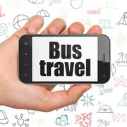 Tourism concept: Hand Holding Smartphone with Bus Travel on display Stock Illustration