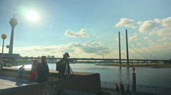 Rhine River in Düsseldorf Germany Stock Footage