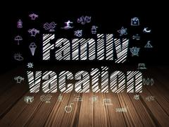 Tourism concept: Family Vacation in grunge dark room - stock illustration