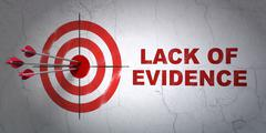 Law concept: target and Lack Of Evidence on wall background - stock illustration