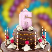 Birthday cake with number 6 lit candle Stock Illustration