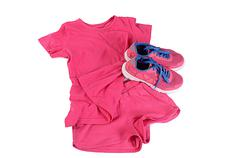 Tracksuit pink color  isolated on white - stock photo