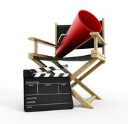 Director chair, film slate and load horn - stock illustration