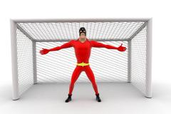 superhero standing as a goalkeeper concept - stock illustration