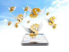 Stock Illustration of Dollar sign with wings
