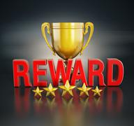 Reward text and gold cup Stock Illustration