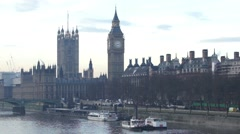 London Skyline, Westminster Bridge and Big Ben present. - stock footage