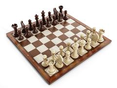 Chess board with wooden chess pieces - stock illustration