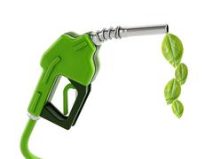 Green gas nozzle with leaves - stock illustration