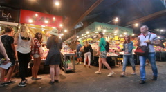 Tourists at Boqueria Market in Barcelona Stock Footage
