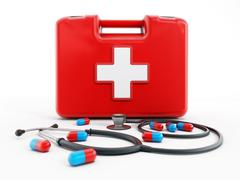 First aid kit, stethoscope and pills - stock illustration