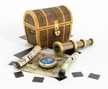 Treasure chest, map, compass and looking glass - stock illustration