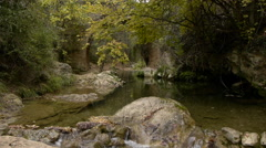 Medieval bridge between the autumnal forest and crossed by the river Guadalquivi Stock Footage