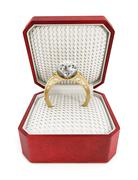 Engagement ring in the box - stock illustration