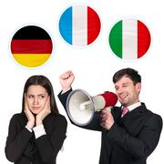 Woman, man and bubbles with countries flags. - stock photo