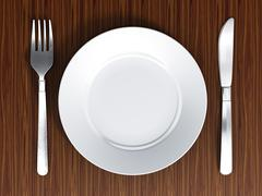 Dinner plate, fork and knife - stock illustration
