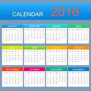 Vector template calendar 2016 years. Week starts with sunday - stock illustration