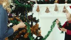 Decorating the Christmas tree Stock Footage