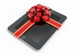 Digital tablet computer with red ribbon - stock illustration