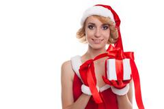Beautiful sexy girl holds Santa Claus gift Stock Photos