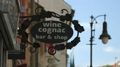 Wine Cognac bar and shop in Prague Stock Footage